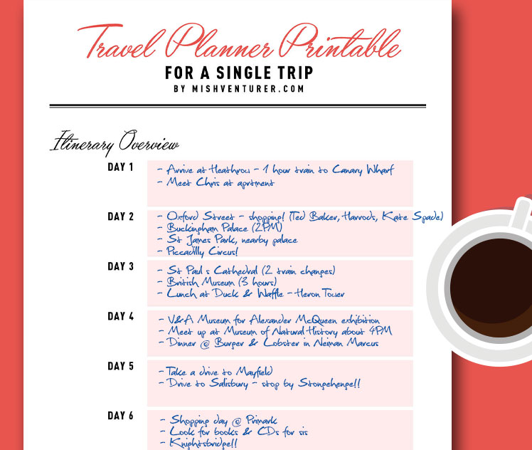 FREE Travel Planner Printable PDF