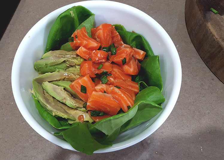 salmon and brown rice poke bowl